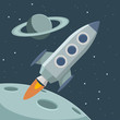 Vector retro space with rocket and planets - 72999676