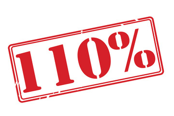 110% red rubber stamp vector over a white background.