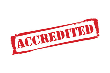 ACCREDITED red rubber stamp vector over a white background.