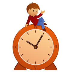 Cartoon little boy on vintage clock