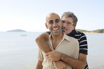 Happy gay couple on vacation