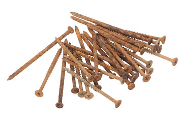Isolated Collection of Long Rusty Screws with Flat Heads