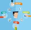 Social media marketing concept flat illustration