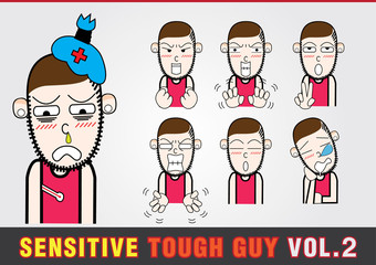 Cartoon characters. Sensitive Tough Guy.