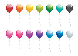 set of colorful balloons on white background