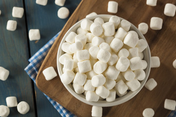 White Mini Marshmallows in a Bowl
