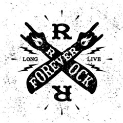 "vintage label "" rock forever"""