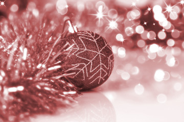 Colorful christmas ball on new year's lights bokeh background