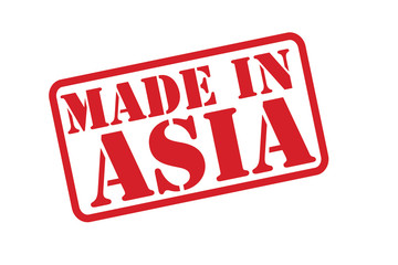 MADE IN ASIA Rubber Stamp vector over a white background.