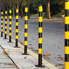 Yellow Black Street Posts