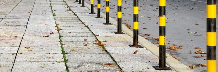 Yellow Black Street Posts