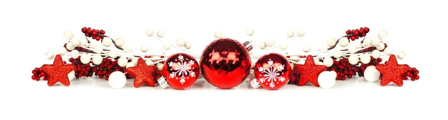 Christmas border of red and white branches and ornaments
