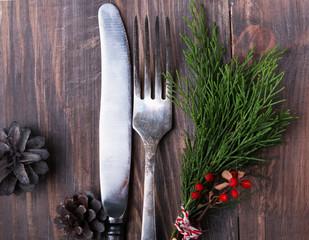 Christmas decor, knife and fork