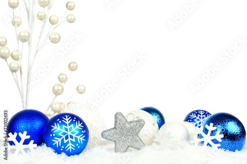 canvas print picture Christmas border of blue and white branches and ornaments