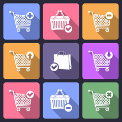 Shopping cart flat icons with long shadow