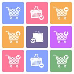 Shopping cart icons, flat design vector