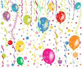 Colorful balloons, confetti and ribbon vector wallpaper