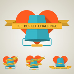 Flat concept vector illustration for Ice Bucket Challenge