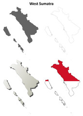 West Sumatra blank outline map set