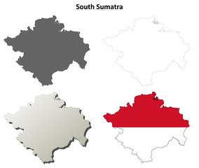 South Sumatra blank outline map set