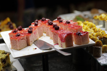 Pieces of cake with berry