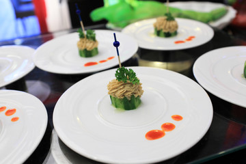Plates with pate canape