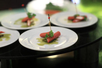 Stuffed sausages canape