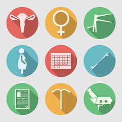 Flat icons for Obstetrics and Gynecology