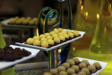 Tray with yellow ball cakes