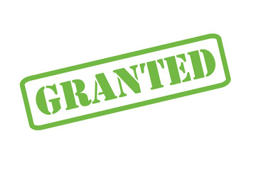 GRANTED green rubber stamp vector over a white background.