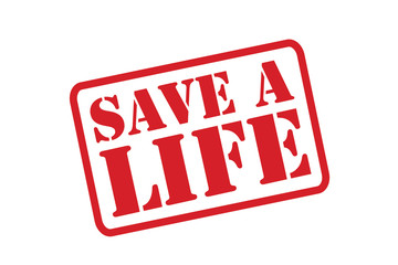 SAVE A LIFE red Rubber Stamp vector over a white background.
