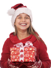 Mädchen, Weihnachtsgeschenk, Weihnachtsmütze, Heiligabend