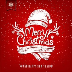 Christmas Greeting Card With Chalk