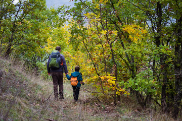 Autumn family hiking