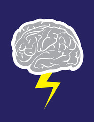 Brainstorm cloud with lightning striking