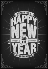 New Year Background With Typography On Blackboard With Chalk