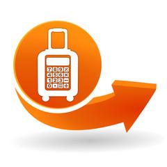calculatrice valise sur bouton web orange