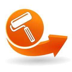 rouleau de peinture sur bouton web orange