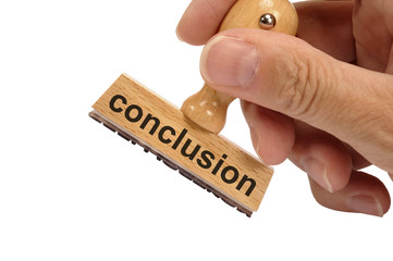 conclusion marked on rubber stamp