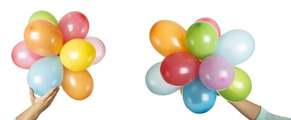 balloons in hands