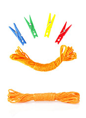 colorful clothespins and rope
