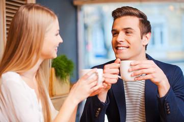 Enjoying fresh coffee together.