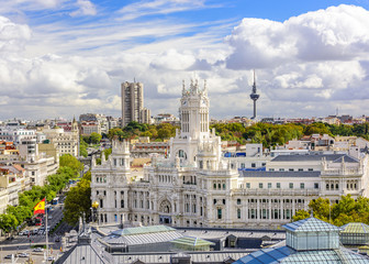 Cybele Palace and Cityscape of Madrid, Spain