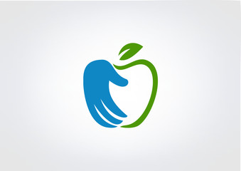 Aple Icon Hand abstract  business  Healthy Logo