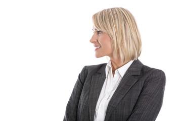 Blonde attraktive ältere Geschäftsfrau im Profil freigestellt