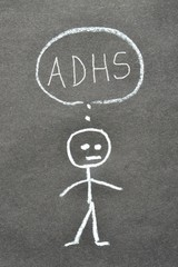 Strichmännchen mit Sprechblase ADHS