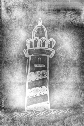 canvas print picture Leuchtturm - Silhouette - vintage