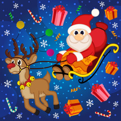 Christmas Santa Claus on sledge with reindeer and gifts  -  eps
