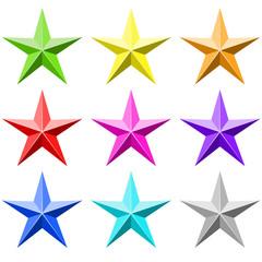 Color star vector set