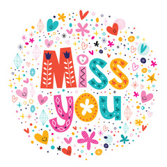 miss you typography lettering decorative text card